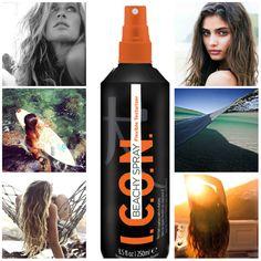 ICON Beachy Spray Texturizador. Lo último de ICON para crear ondas playeras todo el Verano!! Con vitamina B5 que aporta hidratación, vitamina A que actúa protegiendo el cabello de las agresiones solares, y vitamina E que mantiene el cabello y el cuero cabelludo sanos. Sus ingredientes revitalizantes crean esa sensación de agua salada sobre el cabello húmedo mientras que en cabellos secos aporta una textura flexible y con mucho juego. Siente tu cabello flexible y con cuerpo con ICON Beachy…