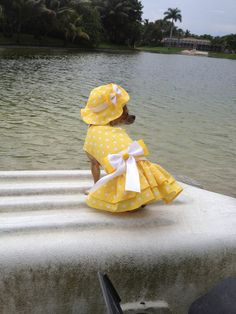 Foxxy's Yellow Polka Dot Dress and Matching Hat by WoofsandRuffles, $28.00