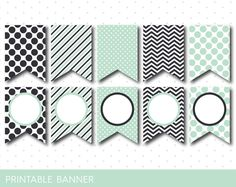 Mint green and light black DIY printable banner with chevron, stripes and polka dots, Blank pennant banners, PB-567