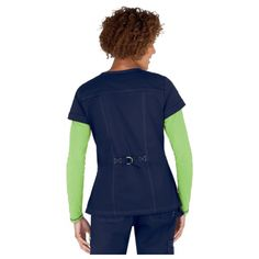 Koi Scrubs add trendy details to cool color combos and popular styling. Fashionable 4-pocket styling Split neckline Stylish contrast stitching D-ring tie on bac