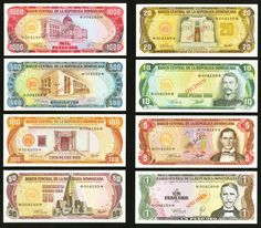 Dominican Republic Banco Central Collector's Series Specimens. While sets in this series usually contain three or four notes, the set from the Dominican Republic contains a whopping eight, as all eight were in circulation at the time. Sharp embossing appears on all of these Choice Crisp Uncirculated examples. The original envelope and certificate of authenticity are included.