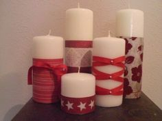 Christmas Candle Craft ideas, Christmas Crafts on candle 2014 . White Candles, Diy Candles, Pillar Candles, Decorating Candles, Homemade Christmas, Christmas Time, Christmas Crafts, Red Christmas, Valentines Day Decorations