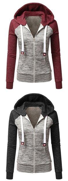 e1a7a464 sudaderas para damas · Casual Hooded Stitching Color Sweatshirts For Women  Sudaderas Mujer, Chaqueta Hombre, Botas, Capucha