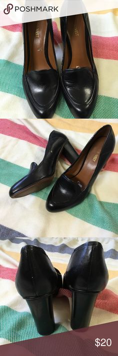 Nine West loafers pumps Black leather loafers with chunky heels by Nine West. Excellent condition except for flaw on interior noted in photo. Wonderful work staple. 4 inch heels. Nine West Shoes Heels