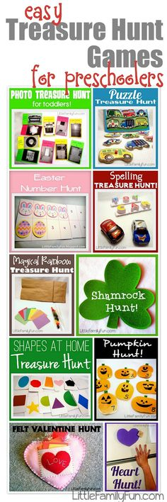 Little Family Fun: Easy Treasure Hunt Games for preschoolers - get em moving! - - Re-pinned by @PediaStaff – Please Visit http://ht.ly/63sNt for all our pediatric therapy pins