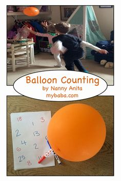 Balloon counting: Count how many times that children can hit a balloon into the air without it touching the ground, then get them to write that number down. A fun maths activity to help with counting, writing and gross motor skills. Easy Math Games, Math Games For Kids, Counting Games, Gross Motor Activities, Gross Motor Skills, Preschool Activities, Simple Math, Toddler Crafts, Maths