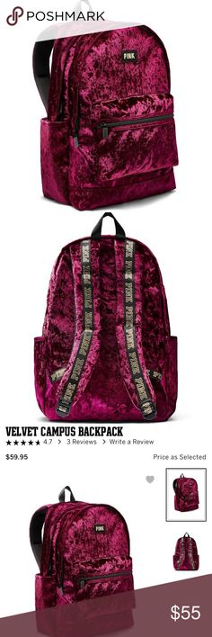 NEW!!  VS PINK velvet campus backpack 🎒 New in plastic, never used!!  Only taken out for pics!  Item description in pics.  Retail $60. 🚭Smoke-free home 🙅Absolutely no holds or trades  ❌LOWBALL OFFERS ARE CONSIDERED RUDE AND WILL BE IGNORED  👉Not sure what a lowball offer is?  Check out the chart in the last pic!  👀 Thanks for looking!!  💕 PINK Victoria's Secret Bags Backpacks
