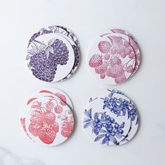 Pretty letterpress coasters from Food52; classy gift for the artistic drinker.