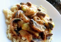 Gomba-cukkinipörkölt Healthy Eating, Meat, Chicken, Baking, Recipes, Food, Drink, Bulgur, Mushrooms