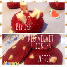 Chewy red velvet white chocolate chip cookies