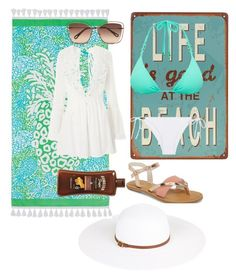 """""""Summer in grecce"""" by kbykiewicz on Polyvore featuring TOMS, ViX, Melissa Odabash, Heidi Klein, PBteen, Chloé, Topshop, BeachPlease and vacayoutfit"""