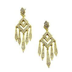 """Fashion Chandelier Earrings ; 4"""" L; Gold Metal with Clear Rhinestones Eileen's Collection. $24.99. Save 50%!"""