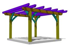 This DIY timber frame pergola plan is an easy project to create outdoor living space for your yard. It's a beginner's project using simple joinery. Free Pergola Plans, Building A Pergola, Pergola Canopy, Wooden Pergola, Outdoor Pergola, Backyard Pergola, Gazebo, Pergola Carport, Pergola Swing