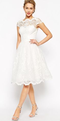 Modest white lace midi dress with cap sleeves