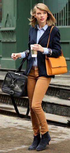 Prep school style amped up with a tangerine bag. More