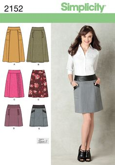 Simplicity 2152 from Simplicity patterns is a Misses Skirt sewing pattern