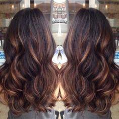 golden caramel balayage'd lights on her dark brown hair ♥ my summer hair by tanya