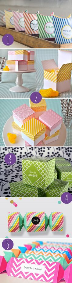 sweet collection of FREE printable favor boxes for parties, weddings, showers, + more! #diy #crafts www.BlueRainbowDesign.com