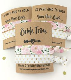 Start the party with super fun bridesmaid gifts just like these etsy hair ties!
