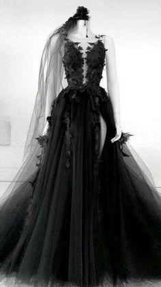 Black Wedding Gowns, Black Wedding Dresses, Gothic Prom Dresses, Halloween Wedding Dresses, Gothic Gowns, Black Weddings, Formal Dresses, Black Ball Gowns, Dress Wedding