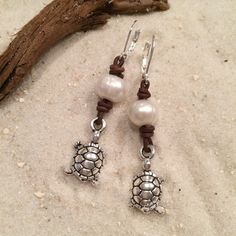 Sea Turtle Pearl & Leather Earrings by CoastalCreations98 on Etsy