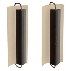 Pair of Metal + Brass Sconces in the Manner of Charlotte Perriand