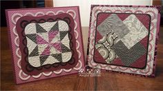 """handmade quilt cards from Paper, Paws, etc.: Black Currant Quilts ... 3/4"""" square punch ... paper pack ... quilt patterns Googled up on the Internet ..."""