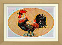 Rooster Watercolor - Art Print. Original watercolour by Roger Smith. Reproduced on Archival Heavyweight Paper  http://www.zazzle.com/rooster_watercolor_art_print-228247358625483231 #art #print #RogerSmith #rooster #birds