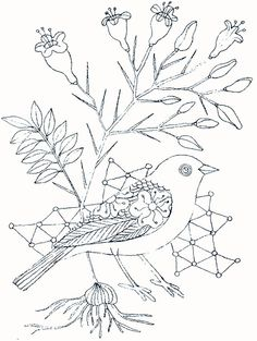 line drawing of bird and plant