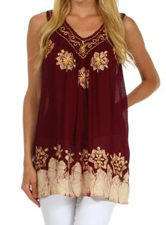 Sakkas Batik Embroidered V-Neck Sleeveless Blouse