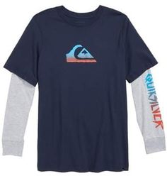 786048fc5cf Quiksilver Rough Script Layered Sleeve T-Shirt (Big Boys)