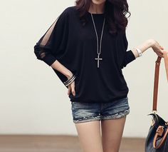 Voile Splicing Solid Color Long Sleeves Scoop Neck Ladylike Style T-shirt For Women (BLACK,L) | Sammydress.com