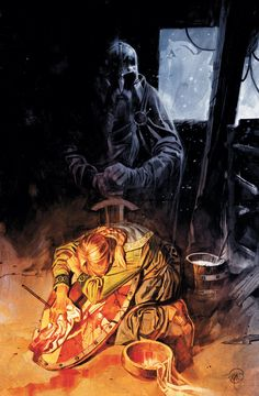 Northlanders - braided viking wife washing the blood from her warrior husbands shield, while she weeps. He is right behind her in ghostly shape before he goes off to Valhalla.