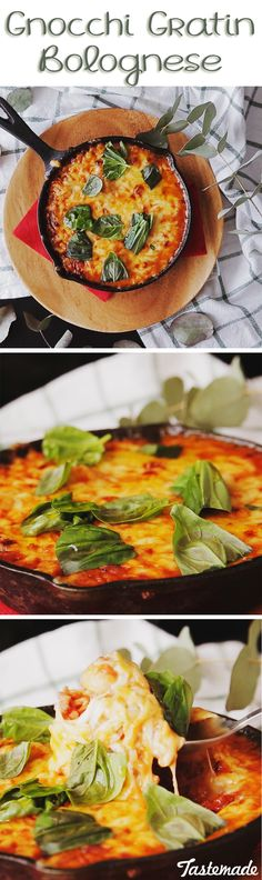 A skillet of gnocchi smothered in meaty sauce and bubbly cheese is comfort food at its best.