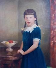 Vintage LARGE Original Oil on Canvas Young Girl Mid Century Painting Lifelike Antique Paint, Oil On Canvas, Vintage Paintings, Mid Century, The Originals, Disney Princess, Disney Princesses, Disney Princes, Retro