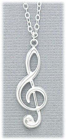 Necklace Silver tone pendant chain with clef note charm