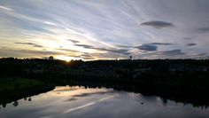 Morning at Nidelven river, Trondheim. By Plane, Trondheim, Norway, Sunrise, River, Celestial, Vacation, City, Nature