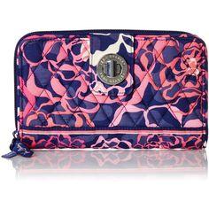 Vera Bradley Turn Lock Wallet ($36) ❤ liked on Polyvore featuring bags, wallets, vera bradley wallet, turnlock wallet, blue bag, vera bradley and vera bradley bags
