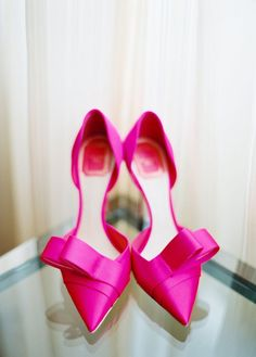 """Christian Dior """"Plisse"""" Rose Hot Pink Satin Point-Toe Bow Pumps"""