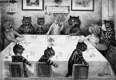 """A Christmas catastrophe : please, sir, the rat entree has escaped and eaten the turkey. Drawing created by Louis Wain in 1906. Photographed by the Detroit Publishing Company in 1906.""""May every cat gro"""