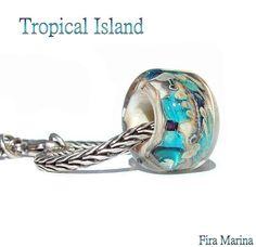 Tropical Island Gl Lampwork Focal Bead Fits Troll Pandora By Firamarina Ocean Beach Colors Aqua Turquoise Blue Sparkles Ivory Sand Organic