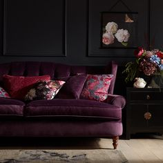 Moody and dramatic, the dark florals trend is perfect for the autumn and winter months as the nights grow longer. Keep your room cosy with a soft, fabric sofa, in a colour that complements the trend. Apartment Interior, Home Interior, Interior Design, Living Room Sofa, Living Room Decor, Bedroom Decor, Living Room Color Schemes, Dark Interiors, Cozy Room