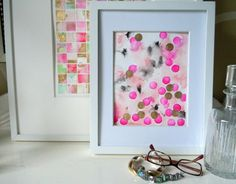 Squares in background - love! (paint different abstracts paintings.. then cut into squares and arrange in pattern)