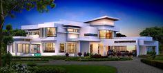 Big Houses Exterior, Modern Exterior House Designs, Modern Villa Design, Classic House Design, Dream House Exterior, Modern Architecture House, Sims 4 House Design, House Gate Design, Kerala House Design