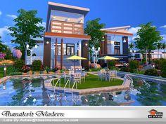 Thanakrit Modern house by autaki at TSR via Sims 4 Updates