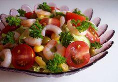 Салат креветки, апельсины, помидоры, болгарский перец