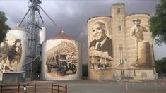 St James silos just finished. Building Art, Water Tower, Blue Abstract, Barns, Mount Rushmore, Street Art, Australia, Mountains, Travel