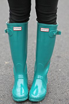 mint Hunter rain boots