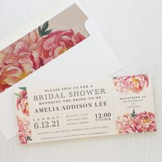 Set the tone of your bridal shower with Pink Peonies, Beacon Lane's floral style invitations with patterned envelope liners specially made for your party.