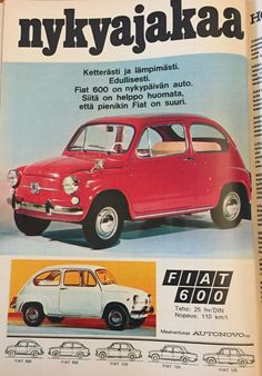 Fiat 500, Old Commercials, Good Old Times, Car Advertising, Teenage Years, Old Toys, Vintage Ads, Finland, Nostalgia